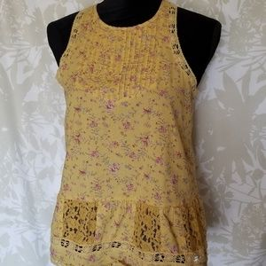 Hollister Tops - Hollister Yellow Floral Lace Top